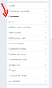 modificar contrasena Twitter