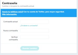 Cambiar contrasena Twitter