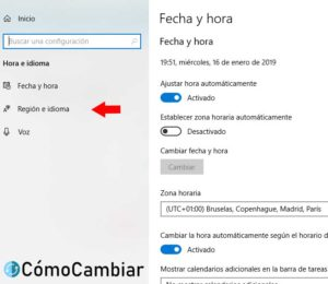 Como Cambiar idioma windows 10