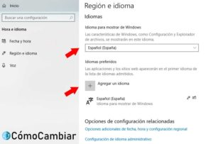 Cambiar idioma windows 10