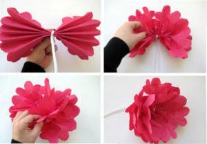 flores de papel con servilletas 2
